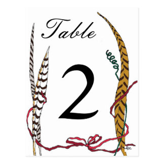 Autumn Pheasant Table Number Card for Reception