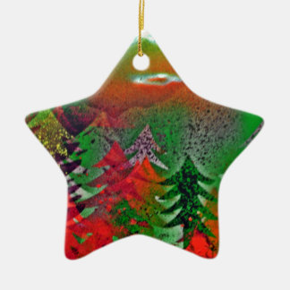 Autumn pine forest christmas ornament