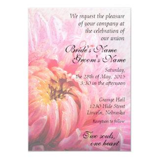 Autumn Pink Chrysanthemum Painting Wedding Invite