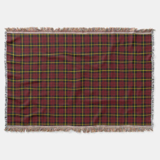Autumn pink plaid print, black yellow stripe throw blanket