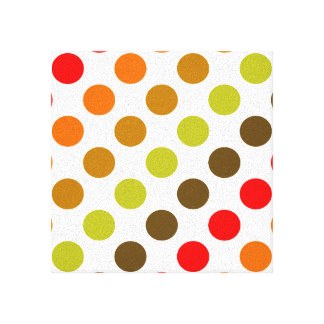Autumn Polka Dot Stripes Gallery Wrapped Canvas