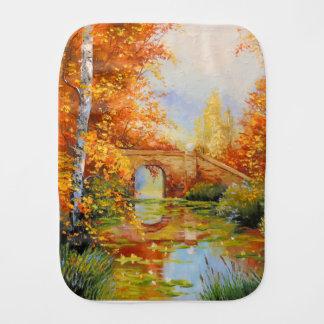 Autumn pond burp cloth