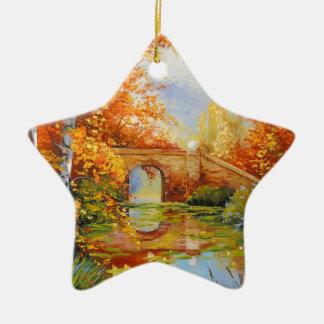 Autumn pond christmas ornament