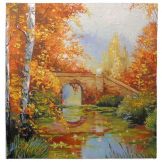 Autumn pond napkin
