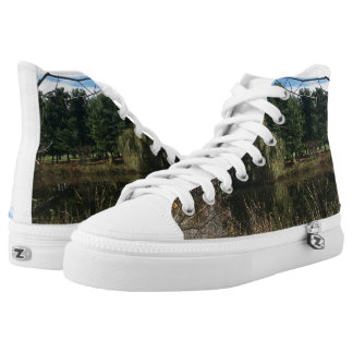 Autumn Pond Pine Trees Sneakers