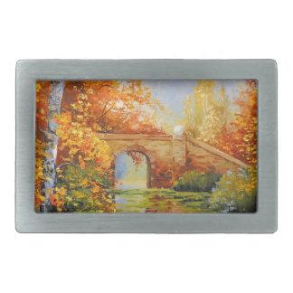 Autumn pond rectangular belt buckle
