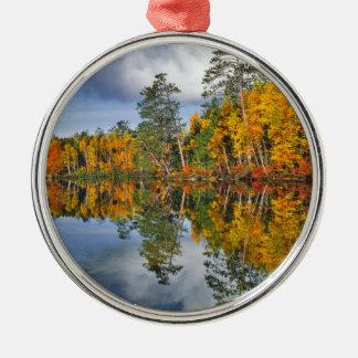 Autumn pond reflections, Maine Christmas Ornament
