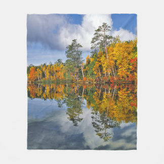 Autumn pond reflections, Maine Fleece Blanket