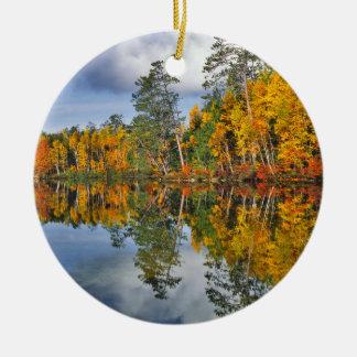 Autumn pond reflections, Maine Round Ceramic Decoration