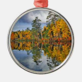 Autumn pond reflections, Maine Silver-Colored Round Decoration