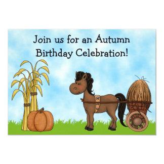 Autumn Pony Birthday Invitation - Boys
