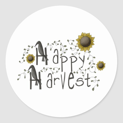 Autumn Primsies · Happy Harvest Round Stickers