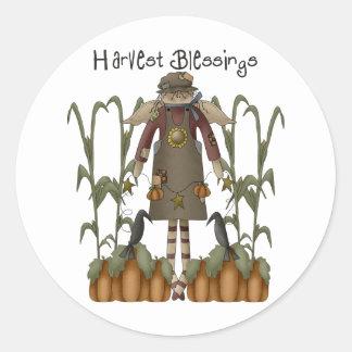 Autumn Primsies · Harvest Blessings Classic Round Sticker