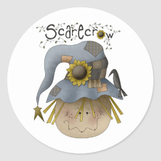 Autumn Primsies · Scarecrow Classic Round Sticker