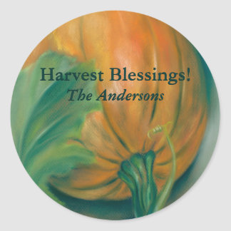 Autumn Pumpkin and Leaf Harvest Personalized Classic Round Sticker
