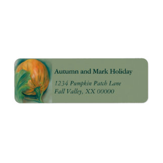 Autumn Pumpkin and Leaf Personalized Thanksgiving Return Address Label