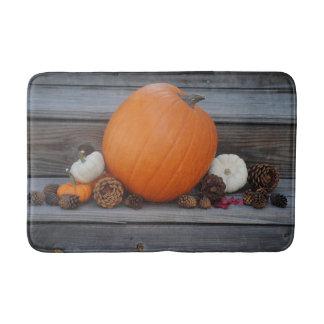 Autumn Pumpkin and Pinecones Bath Mats