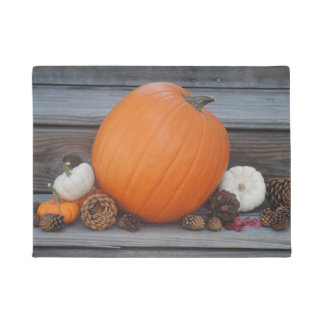 Autumn Pumpkin and Pinecones Doormat