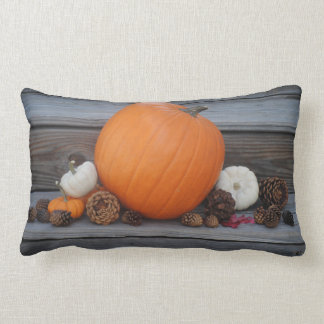 Autumn Pumpkin and Pinecones Lumbar Pillow