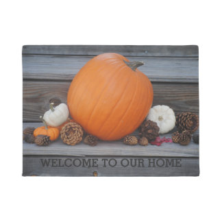 Autumn Pumpkin and Pinecones Welcome to Our Home Doormat