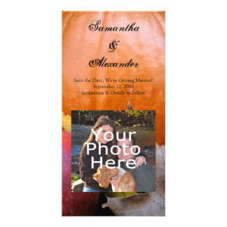 Autumn Pumpkin, Apple and Colorful Leaves Photo Card Template