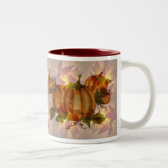 AUTUMN PUMPKIN LEAVES by SHARON SHARPE Two-Tone Coffee
