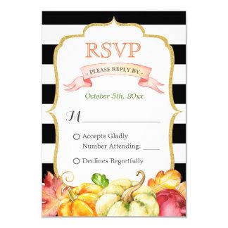 Autumn Pumpkin Maple Leaves Fall Wedding RSVP 9 Cm X 13 Cm Invitation Card