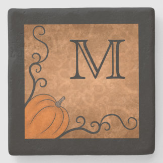 Autumn pumpkin monogram stone coaster