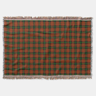 autumn pumpkin orange plaid, black green stripe throw blanket