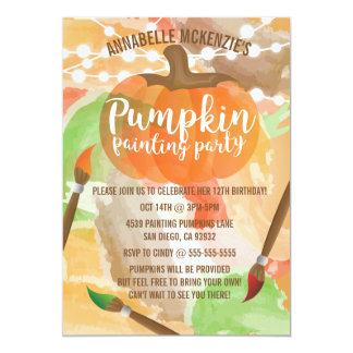 Autumn Pumpkin Painting Party Invitations