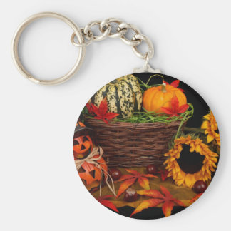Autumn Pumpkins and Flowers Basic Round Button Key Ring