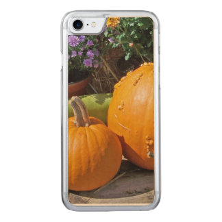 Autumn Pumpkins and Flowers Carved iPhone 7 Case
