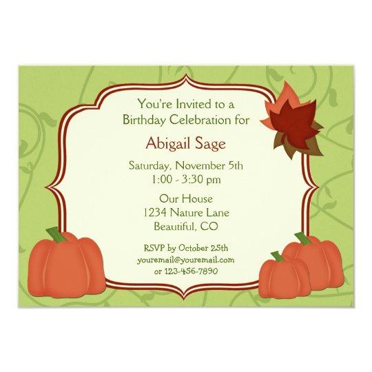Autumn Pumpkins and Leaves Birthday Invitation