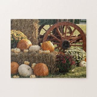 Autumn Pumpkins And Mum Display Jigsaw Puzzle