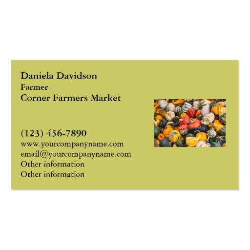 Autumn Pumpkins, Gourds and Squashes Business Card Template