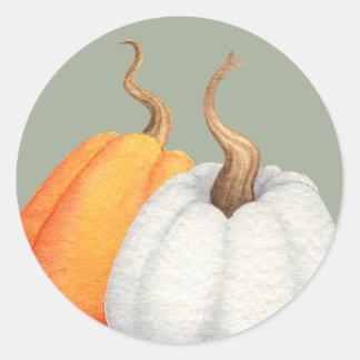 Autumn Pumpkins Watercolor Round Sticker