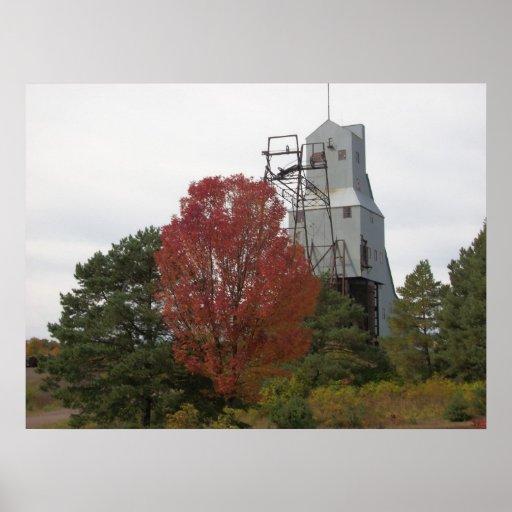 Autumn Quincy Mine Steam Hoist Photo Poster
