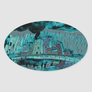 Autumn Rain Oval Sticker