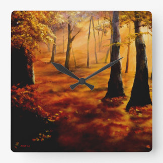 Autumn red and gold square wall clock