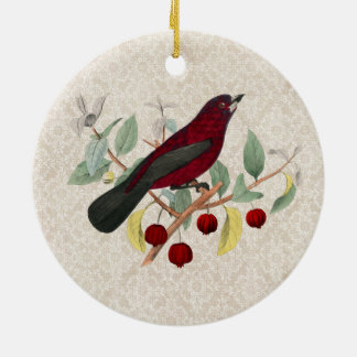autumn red bird vintage christmas ornament