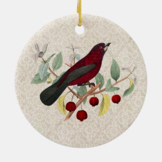 autumn red bird vintage round ceramic decoration