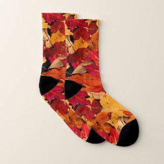 Autumn Red Brown Yellow Orange Pattern Socks 1