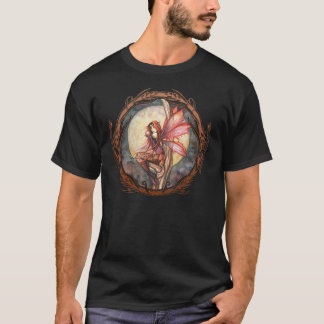 Autumn Red Fairy Faerie Fantasy Gothic Art T-Shirt