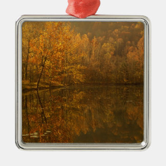 Autumn reflections on pond. Silver-Colored square decoration