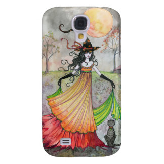 Autumn Reverie Witch and Cat Halloween Art Galaxy S4 Case