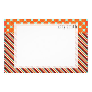 Autumn Rich Striped Personalized Stationery