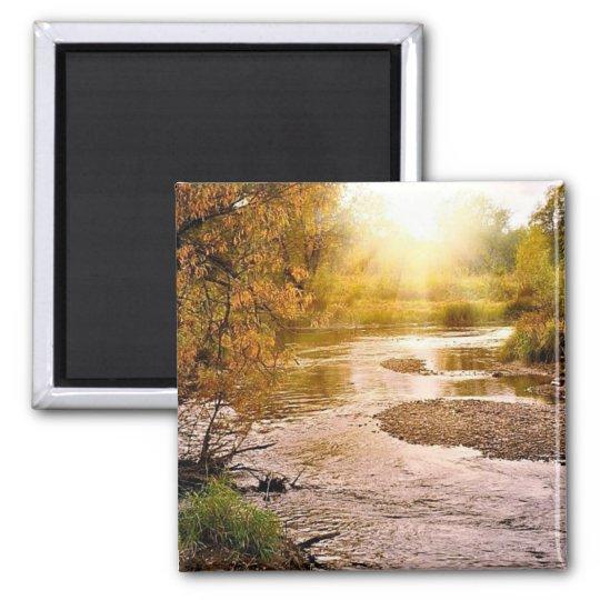 """Autumn River 2"""" Square Magnet"""