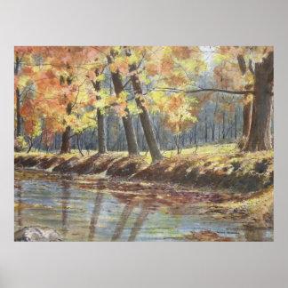 autumn river bank poster