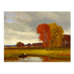 Autumn River Trees Painting Postcard