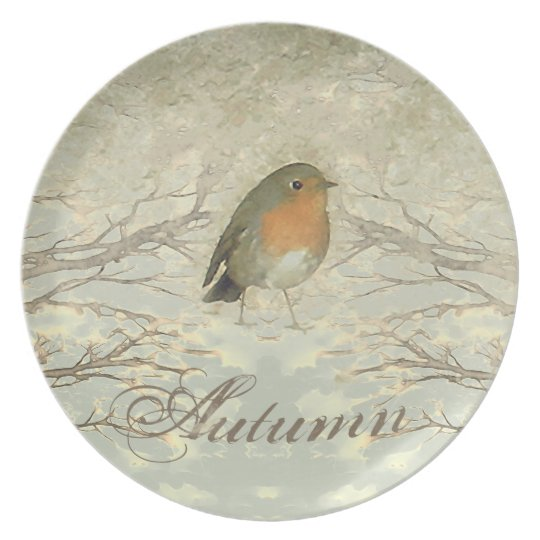 AUTUMN ROBIN Fall Branches Plate